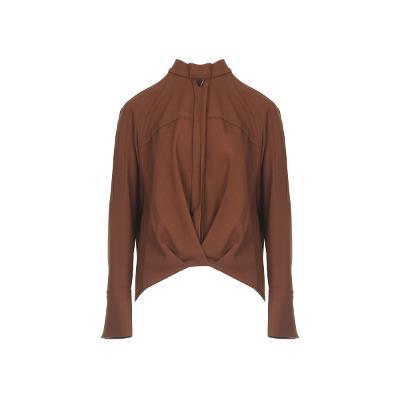 necklace point yoke blouse brown